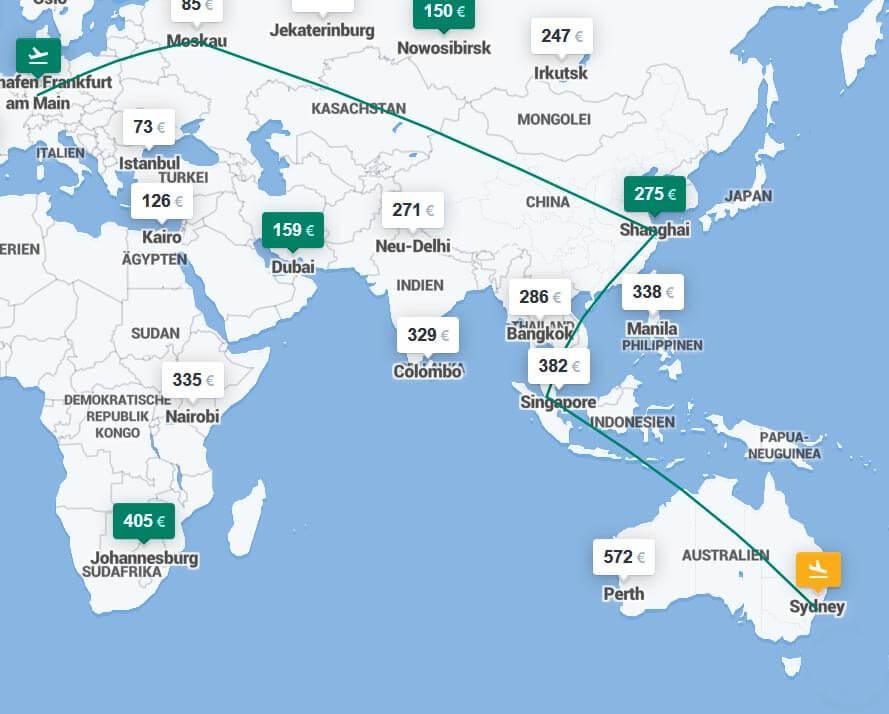 Flugverbindungen Australien